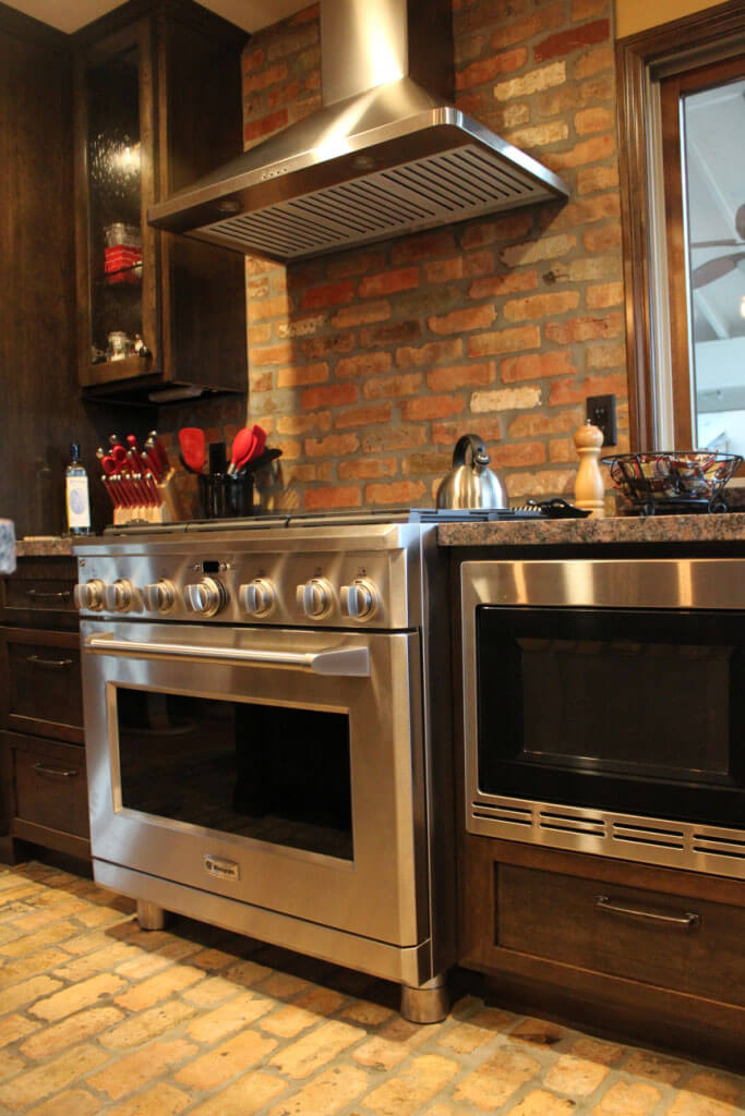 Reclaimed Thin Brick Wall Backsplash